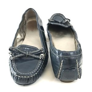 COACH Isabelle Slate Blue Patent Leather Flats 10M
